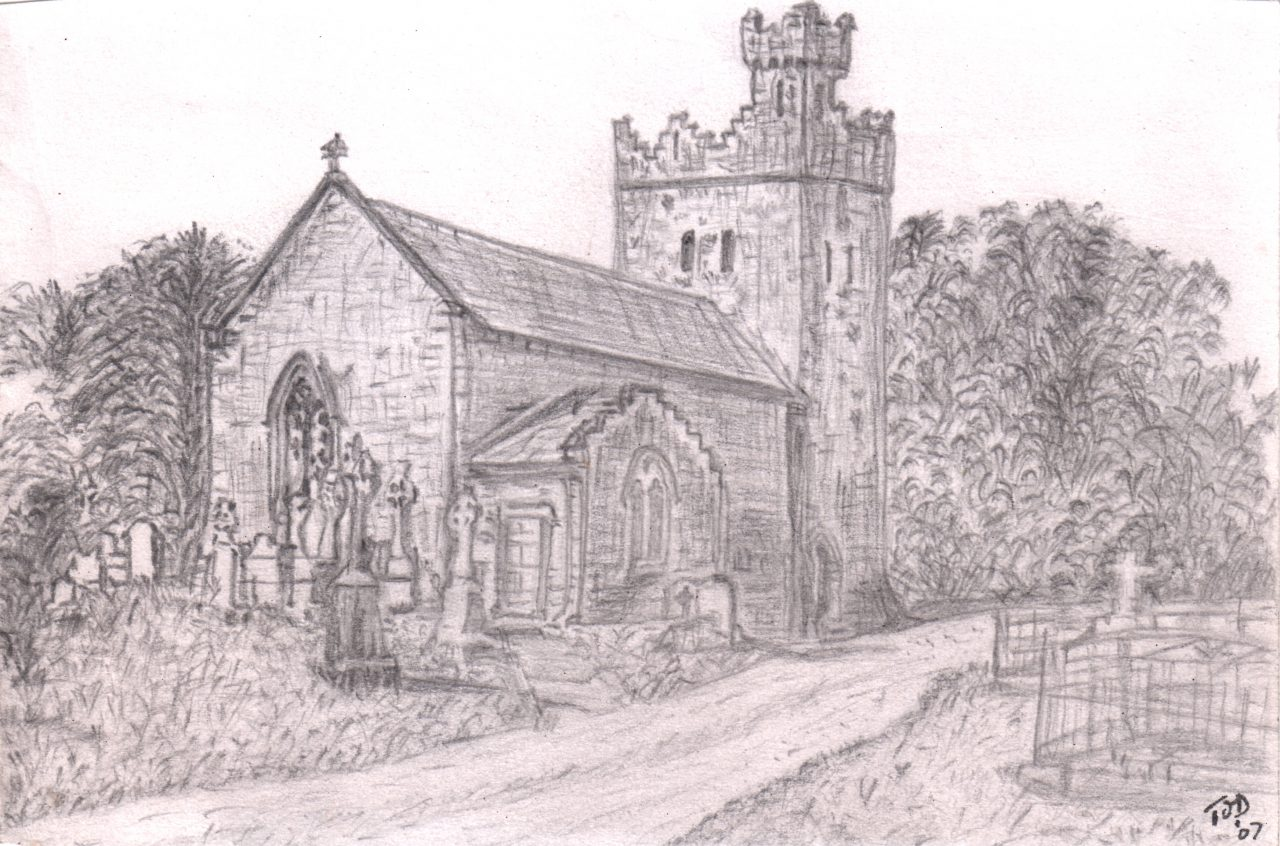Pencil Drawing of Ardmayle Church.