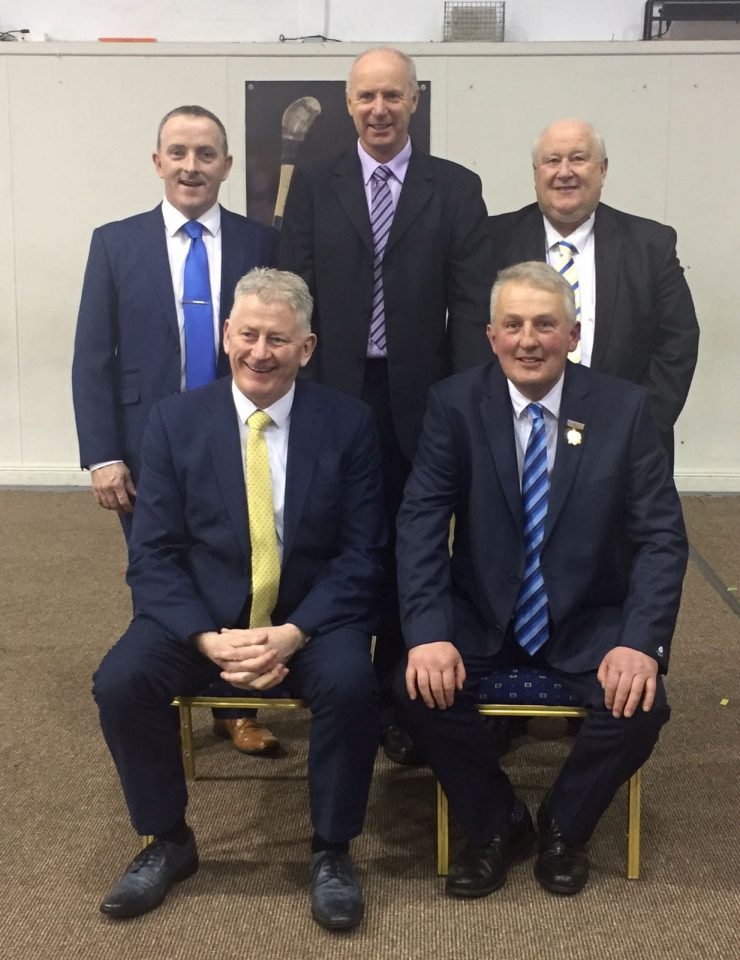 Front: Tim Floyd, Co. Secretary; John Devane, Co. Chairman. Back: Joe Bracken, PRO; Joe Kennedy, Vice-Chairman; Michael Power, Treasurer.