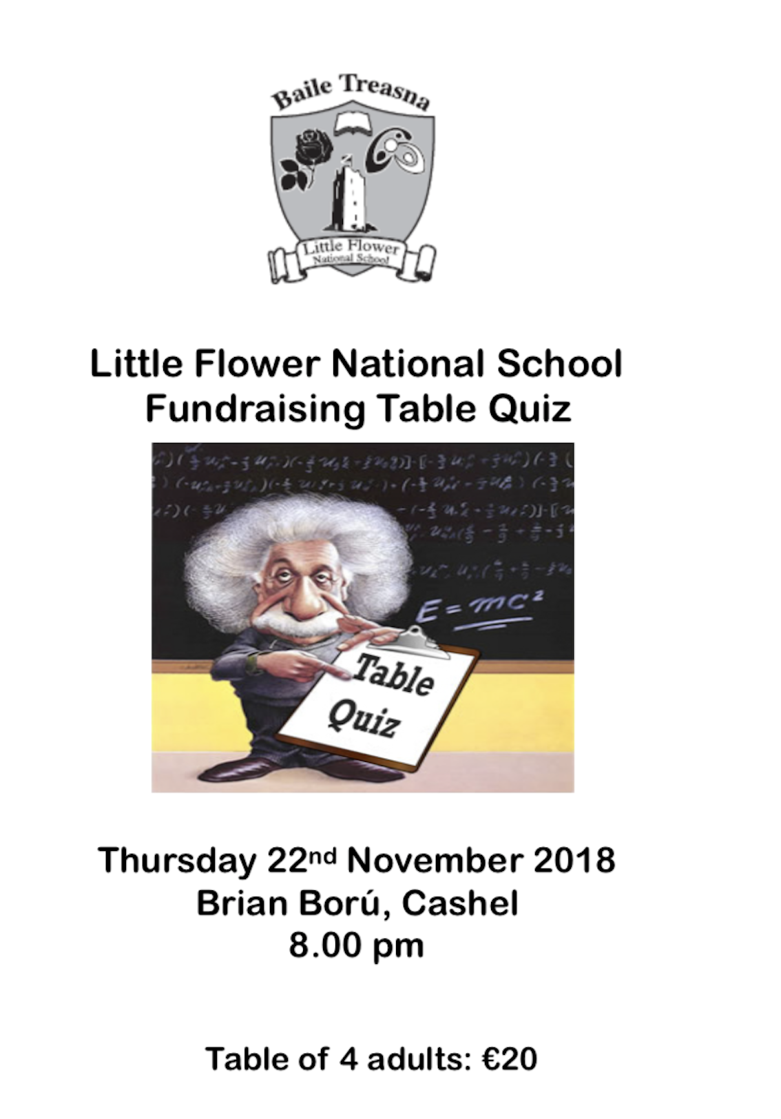 Little Flower National School Fundraising Table Quiz.