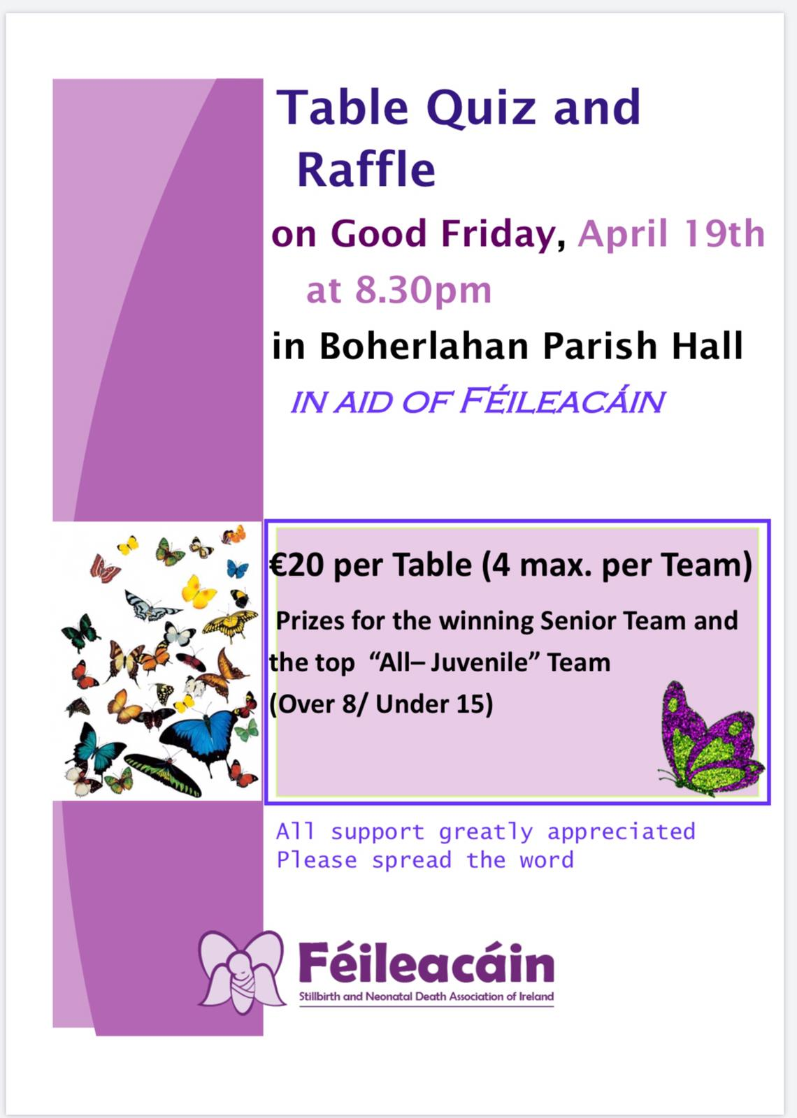 Table Quiz and Raffle in Boherlahan on Good Friday.