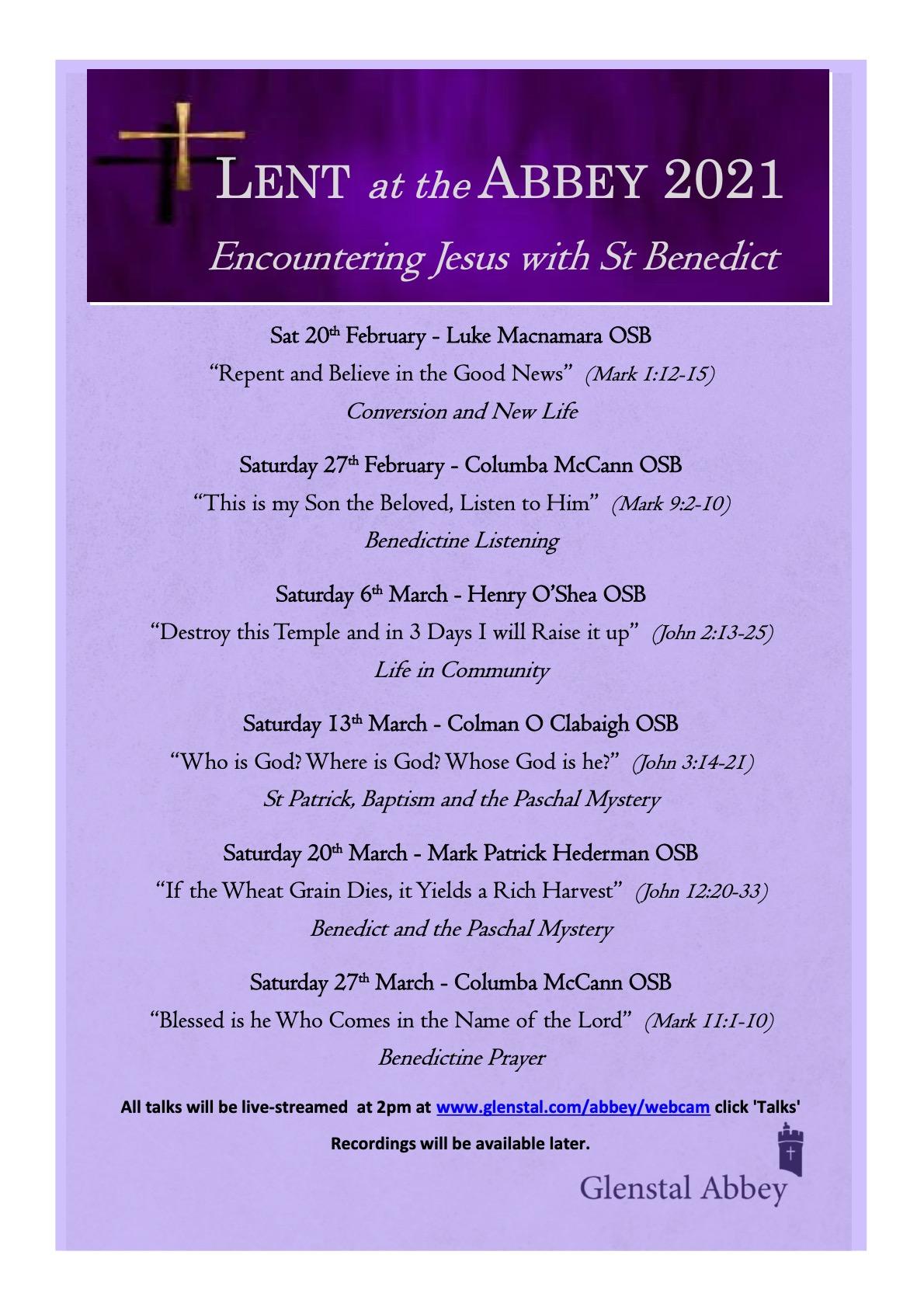 Glenstal Abbey: Talks for Lent.